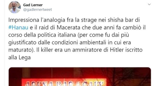 Lerner trova analogie fra l'assassino di Hanau e quello di Macerata
