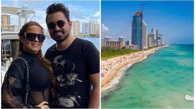 Maiara visita praia de nudismo com o namorado nos EUA
