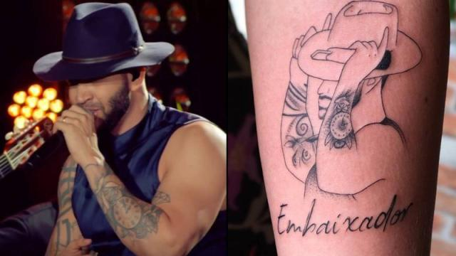 Fã tatua Gusttavo Lima fazendo 'chifre'