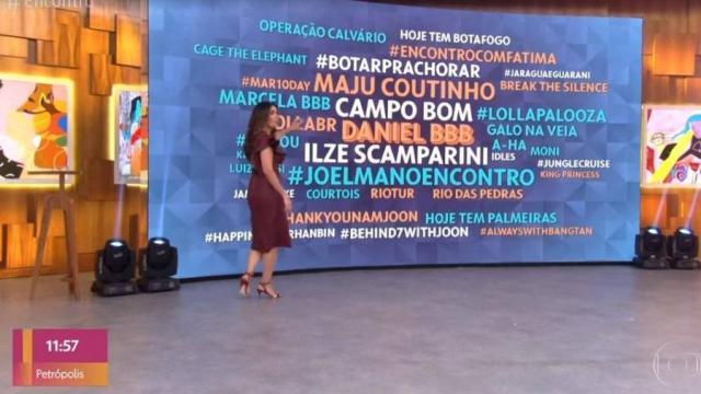 Fátima Bernardes mostra jogo de cintura e evita falar sobre