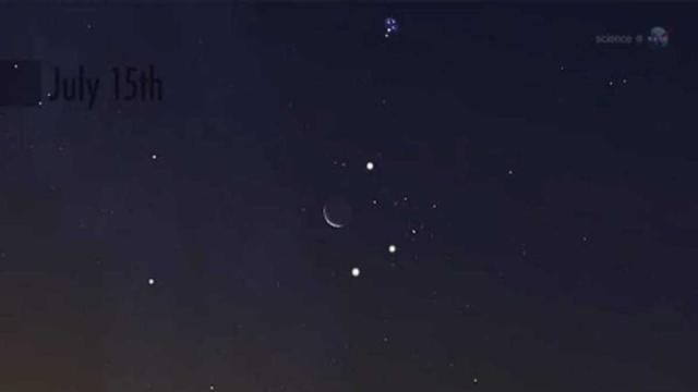 La Luna, Venus y las Pléyades se alinean