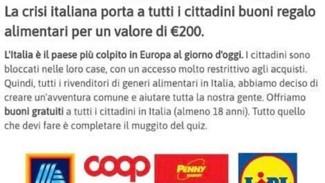 Coronavirus, dalla giornata d'ieri circolano falsi buoni spesa di 200 euro su WhatsApp