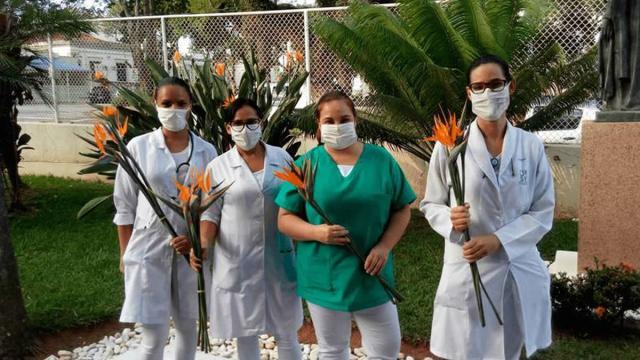 Funcionários de hospital em São Paulo são homenageados com flores