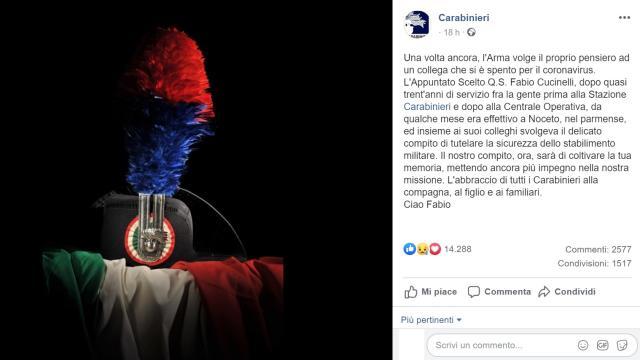 Muore un carabiniere per Covid a Parma: Fabio Cucinelli aveva 49 anni