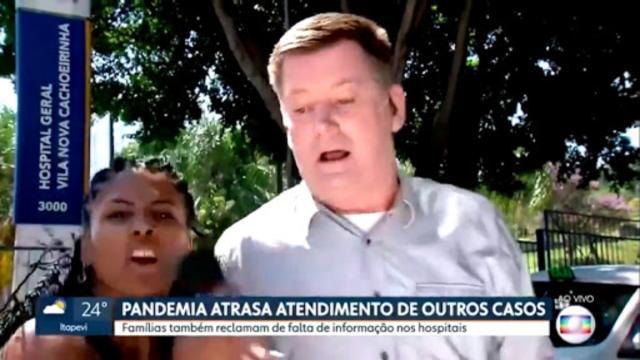 Mulher invade reportagem ao vivo do 'SPTV' e dispara:'Globo é lixo, Bolsonaro tem razão'