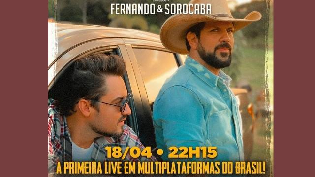Fernando e Sorocaba marcam live, que será transmitida pelo youtube e a Rede Record