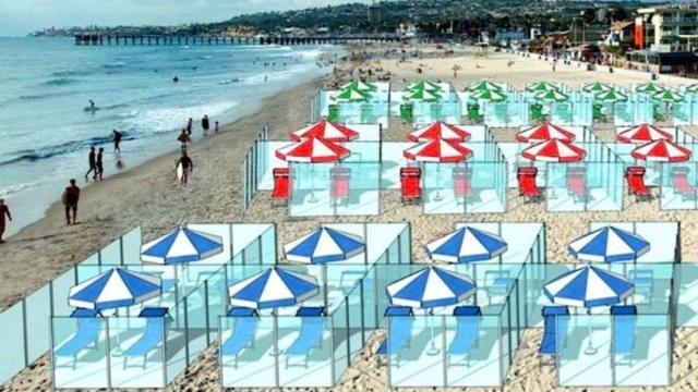 Coronavirus: Una empresa italiana propone usar mamparas en las playas