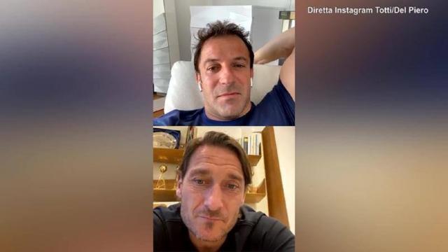 Totti show con Del Piero su Ig: 'Mio figlio alla Lazio? Mica sono scemo'