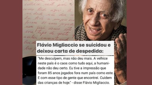 Filho do ator Flávio Migliaccio, dá esclarecimentos sobre a morte de seu pai