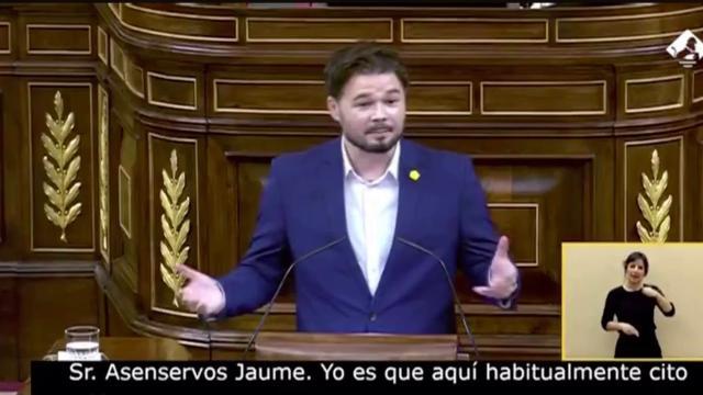 Rufián provoca carcajadas en el Congreso al usar una cita de Jorge Javier Vázquez