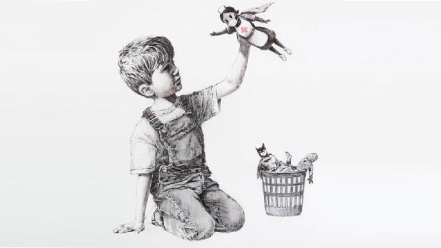 El anónimo Banksy declara quiénes son los verdaderos superhéroes en una nueva obra
