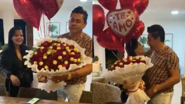 Comemorando dois meses juntos, Maraisa é surpreendida com flores pelo namorado