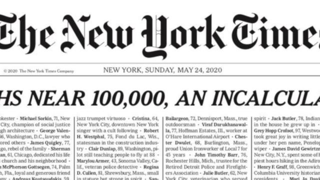 Coronavirus USA, Il New York Times dedica la sua prima pagina alle 100 mila vittime