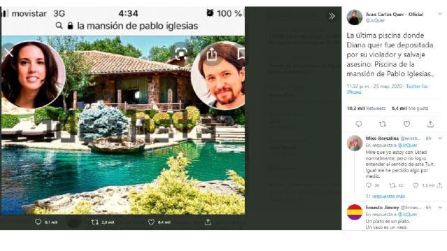 Irónico tuit de Juan Carlos Quer contra Pablo Iglesias sobre su piscina