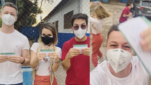 Sandy, o marido e Júnior se vacinam contra a Covid e famosos comemoram na web