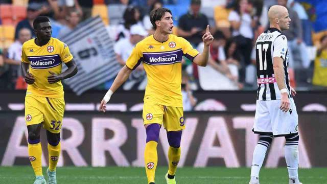 Udinese-Fiorentina 0-1, un rigore di Vlahovic piega i friulani